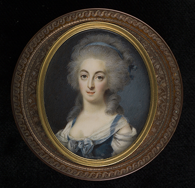 Portrait miniature of a young Lady, wearing blue bodice with gauze scarf, her powdered hair adorned with silk ribbon, 1780, Louis-Marie Sicardi